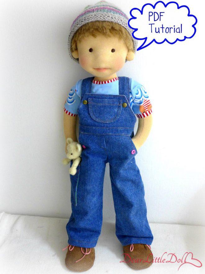 Waldorf doll pattern denim overall3