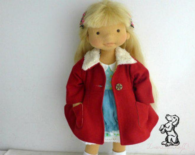 Waldorf doll red coat 1